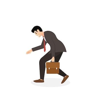 Zmęczony biznesmen spaceru. męski charakter w modnym stylu. płaska ilustracja wektorowa