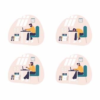 Zmęczony i znudzony człowiek pracuje z komputerem. płaska zabawa ilustracja zmęczony student studiuje lub pracuje przy użyciu komputera stacjonarnego w domu biurko. młody człowiek czyta e-mail, koduje stronę internetową, śpi przy biurku