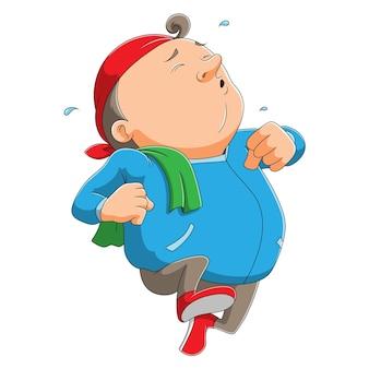 Zmęczony mężczyzna biegnie z potem na twarzy ilustracji