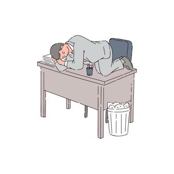 Zmęczony mężczyzna to pracownik biurowy lub biznesmen śpiący na biurku z powodu bezsenności.