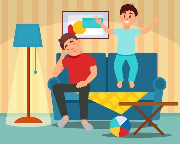 Zmęczony ojca obsiadanie na leżance obok skokowego syna, wychowywa pojęcie, izbowy wnętrze