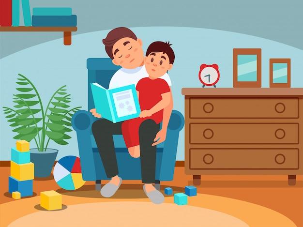 Zmęczony ojciec czyta książkę jego syn, wychowywać pojęcie, izbowy wnętrze