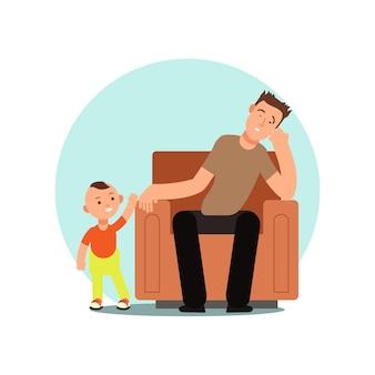Zmęczony ojciec śpi w krzesło wektoru ilustraci
