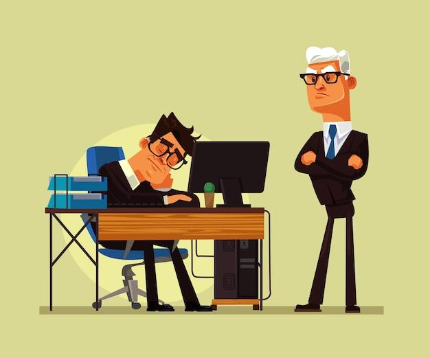 Zmęczony pracownik biurowy charakter człowieka spanie w miejscu pracy i zły szef krzyczy na niego