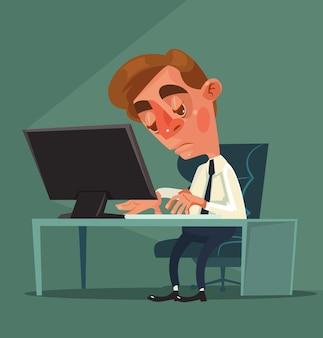 Zmęczony pracownik biurowy mężczyzna charakter ilustracja kreskówka płaska