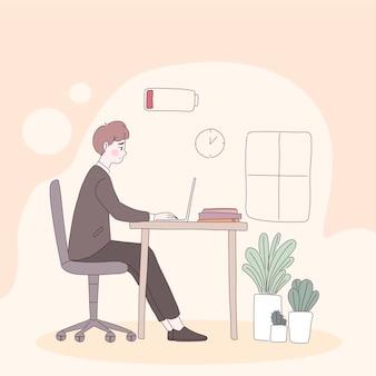 Zmęczony pracownik biurowy siedzący na krześle, z niskim poziomem naładowania baterii