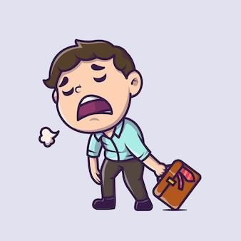 Zmęczony pracownik pracownik kreskówka ikona ilustracja. ludzie biznes ikona koncepcja na białym tle. płaski styl kreskówki