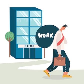 Zmęczony pracownik wychodzi z biura i przynosi pracę do domu. zmęczony, wyczerpany pracownik mający do czynienia z nadmiernie wymagającym szefem. nierealistyczne oczekiwania, termin, zaburzenie stresu w pracy.