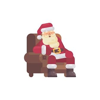 Zmęczony święty mikołaj śpi w fotelu po dostarczeniu prezentów. boże narodzenie charact