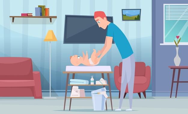 Zmień pieluchy. szczęśliwi rodzice dbają o swoje dziecko zmieniają pieluchy z nieprzyjemnym zapachem na specjalnej koncepcji opieki zdrowotnej wektor stołu vector