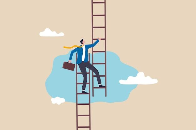 Zmień pracę, aby uzyskać możliwość rozwoju, rozwój nowej ścieżki kariery, przekształć firmę, aby osiągnąć sukces lub osiągnąć docelową koncepcję, zaufanie biznesmena wspinać się po drabinie, aby przejść na nową ścieżkę.