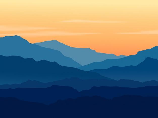Zmierzch w błękitnych górach