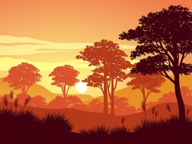 Zmierzch w lasowym natura krajobrazie