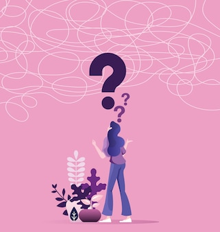 Zmieszana biznesowa kobieta rozwiązuje problem