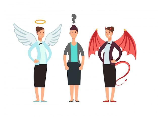 Zmieszana kobieta z aniołem i diabłem na ramionach. koncepcja wektor etyki biznesu