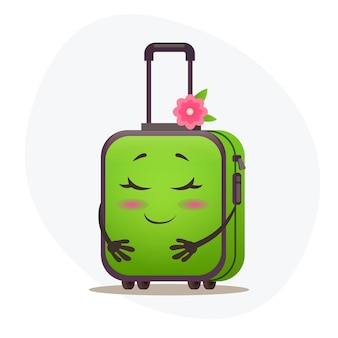 Zmieszana środkowa zielona walizka na kółkach i stemple pocztowe na plastikowym korpusie marzy o wakacjach