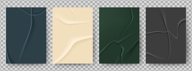 Zmięty papier. pofałdowana tekstura, pusty plakat klejony.