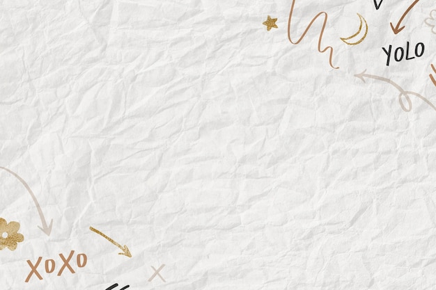 Zmięty papier teksturowane tło z uroczym wzorem doodle