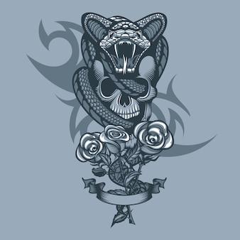 Żmija owinięta czaszką i trzy róże z przodu.