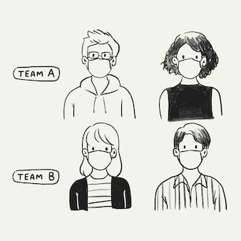 Zminimalizuj wektor ryzyka w miejscu pracy, nowa normalna ilustracja doodle