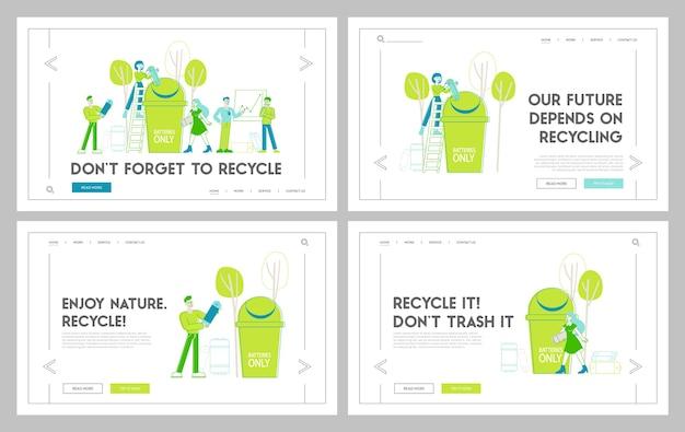 Zmniejsz zestaw szablonów strony docelowej zanieczyszczenia planety ziemi. postacie wyrzucają sprzęt elektroniczny i baterie do ogromnego kosza na śmieci. ochrona środowiska naturalnego. liniowi ludzie