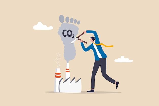 Zmniejszenie śladu węglowego, zmniejszenie emisji i produkcji zanieczyszczeń, koncepcja planu globalnego ocieplenia i naprawy środowiska, lider kraju-przedsiębiorca ograniczający dym dwutlenku węgla co2 z przemysłu.