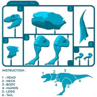 Zmontować motyw zabawek z grafikami t-rex