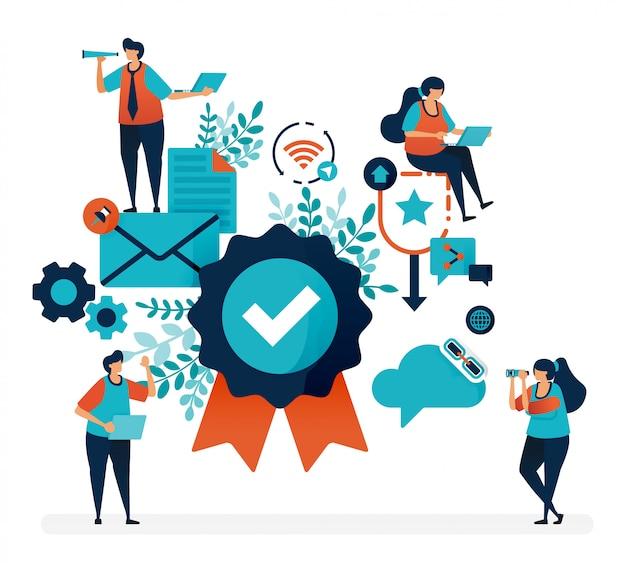 Znaczek gwarancyjny i gwarancja satysfakcji klienta. weryfikacja i potwierdzenie jakości