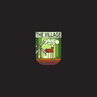 Znaczek logo z koncepcją wioski