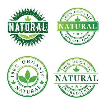 Znaczek naturalny zestaw organiczny projekty logo
