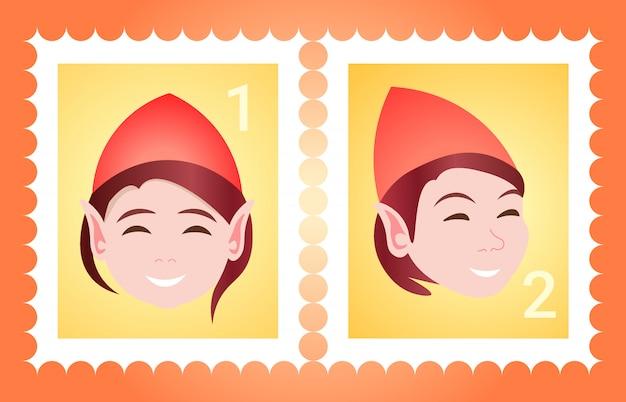 Znaczek pocztowy kobieta twarz avatar szczęśliwego nowego roku wesołych świąt szablon kobieta kreskówka postać portret płaski