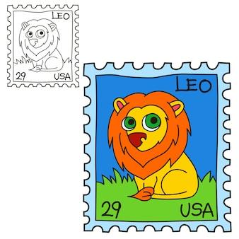 Znaczek pocztowy. książka do kolorowania. ilustracja kreskówka