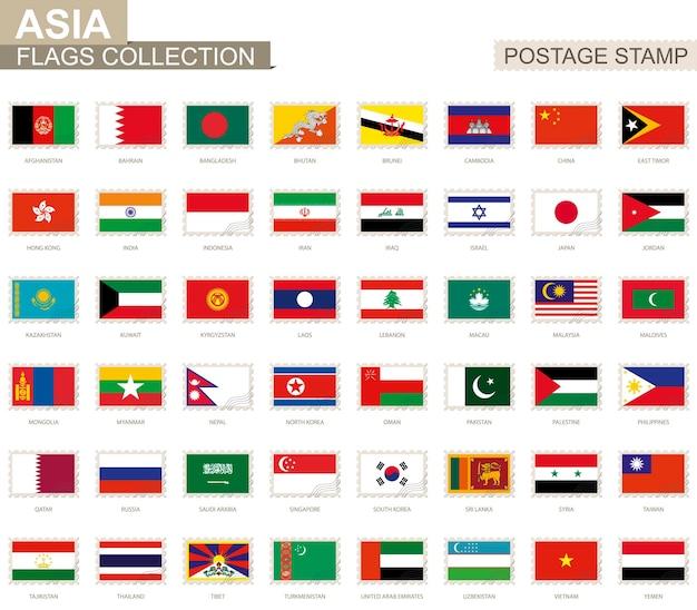 Znaczek pocztowy z flagami azji. zestaw flagi azji. ilustracja wektorowa.