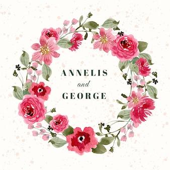 Znaczek ślubny z czerwonym różowym wieniec kwiatowy akwarela