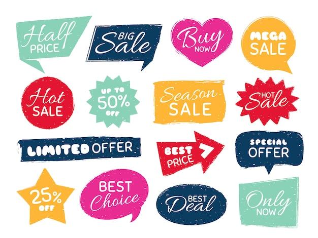 Znaczek sprzedaży grunge, naklejki cenowe w stylu retro, nieczysty teksturowane ceną i vintage odznaki najlepsze oferty na białym tle zestaw
