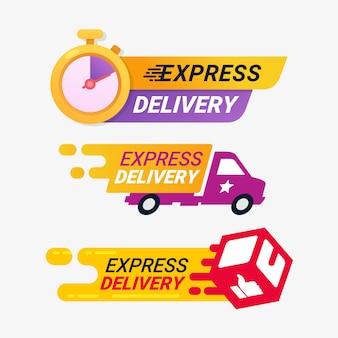 Znaczek z logo usługi ekspresowej dostawy