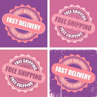 Znaczki bezpłatnej wysyłki i szybkiej dostawy