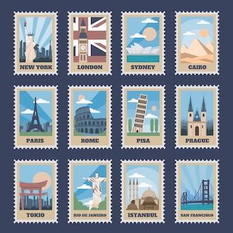 Znaczki pocztowe podróży. vintage znaczek z narodowymi zabytkami, retro stemplowaniem atrakcji świata i najpopularniejszymi punktami świata zestaw ikon. pocztówka podróżna ze słynnymi lokalizacjami