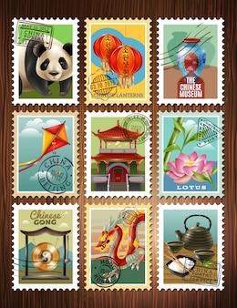Znaczki podróży chiny ustaw plakat