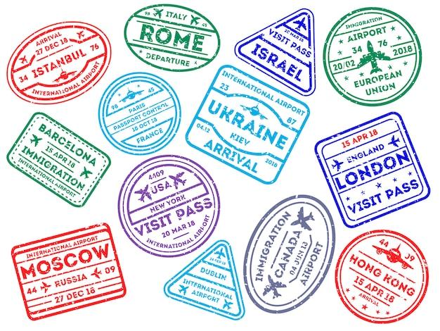 Znaczki podróży międzynarodowych na białym tle
