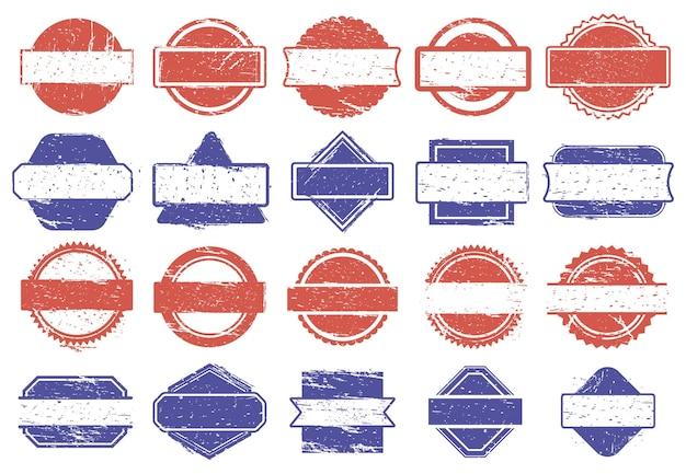 Znaczki ramowe. grunge tekstury odznaki rabatowe, gumowe tekstury oprawione znaki