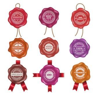 Znaczki woskowe z różnymi etykietami promocyjnymi. zestaw zdjęć wektorowych