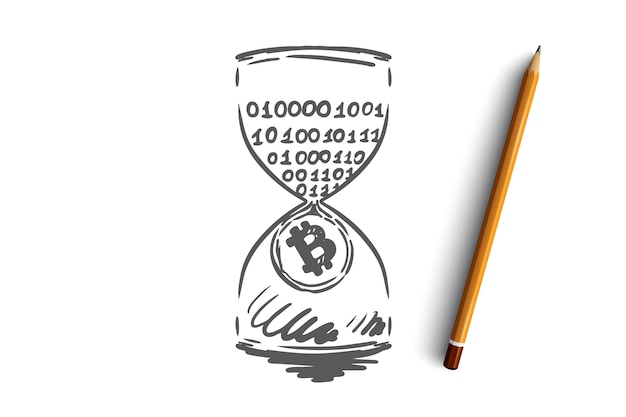 Znacznik czasu, bitcoin, blockchain, waluta, koncepcja cyfrowa. ręcznie rysowane dochód pasywny, szkic koncepcji górnictwa.