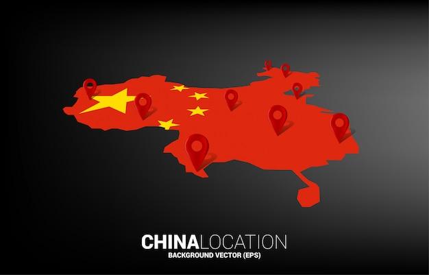 Znacznik lokalizacji 3d na mapie chin. koncepcja plansza systemu nawigacji gps w chinach.