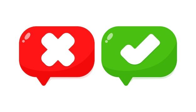 Znacznik wyboru i symbol krzyża ikona na białym tle ilustracji wektorowych