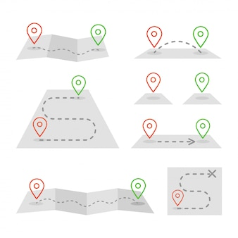 Znaczniki map i zestaw ikon płaskiej mapy