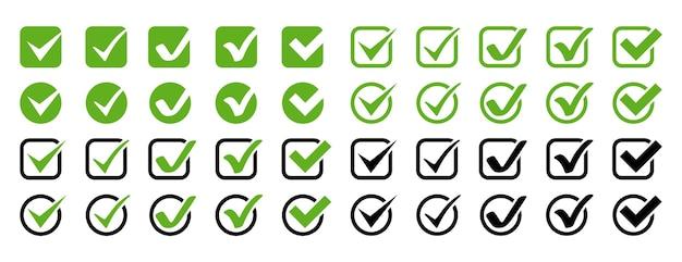 Znaczniki wyboru. sprawdź kolekcję znaków. ikony biznesowe. znacznik wyboru na białym tle.