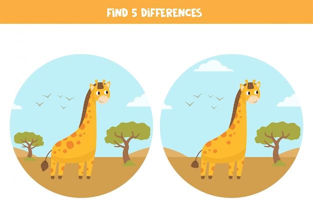 Znajdź 5 różnic. gra edukacyjna z kreskówkowymi żyrafami.