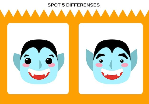 Znajdź 5 różnic. gra wesołego halloween. dracula vampire gra edukacyjna dla dzieci. arkusz dla dzieci. wektor.