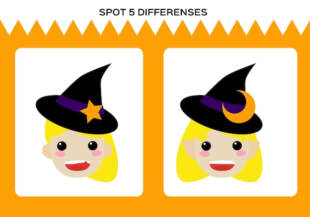 Znajdź 5 różnic. gra wesołego halloween. mała gra edukacyjna czarownica dla dzieci. arkusz dla dzieci.